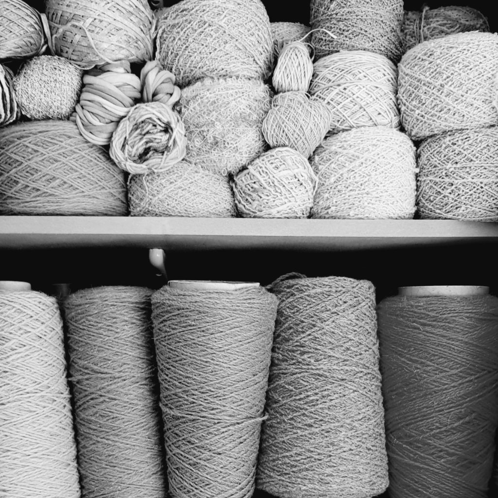 Yarn stacked on shelves